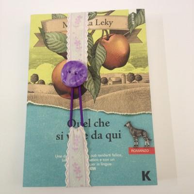 Segnalibro elastico con bottone viola - in vendita online -